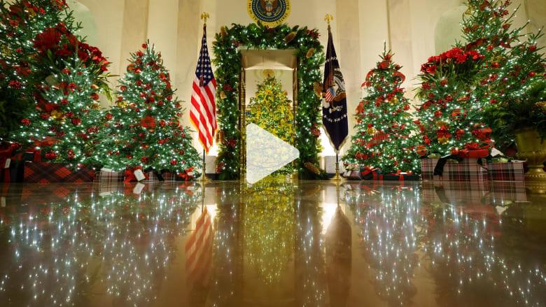 شاهد.. ميلانيا ترامب تكشف عن زينة عيد الميلاد الأخير لها في البيت الأبيض