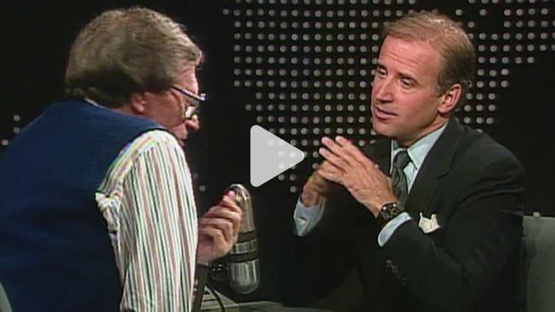 عودة بالذاكرة إلى الوراء.. شاهد جو بايدن يتحدث عن طموحاته الرئاسية مع لاري كينغ عام 1987