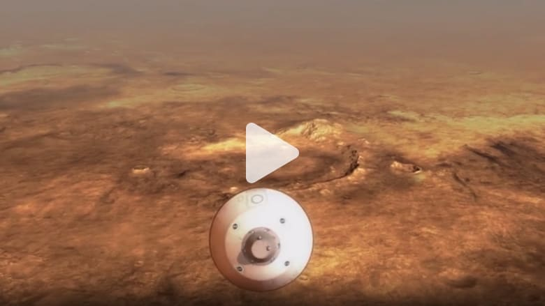 "Demonstration video showing the moments of the landing of the NASA rover ""perseverance"" On Mars"