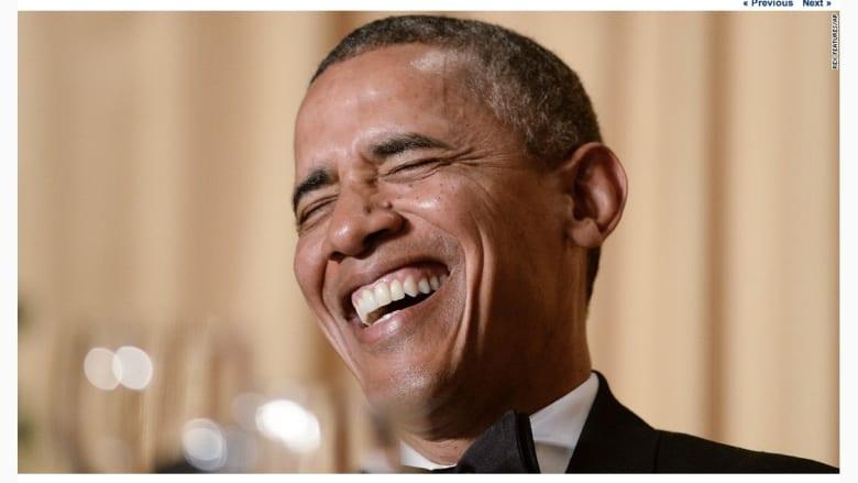 الرئيس الأمريكي، باراك أوباما، خلال العشاء السنوي في البيت الأبيض.