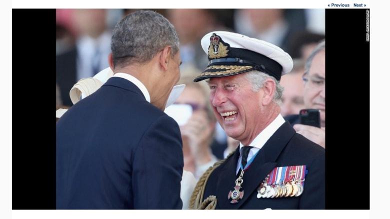 ولي العهد البريطاني، الأمير تشارلز مع الرئييس الأمريكي، باراك أوباما، خلال ذكرى النورماندي.