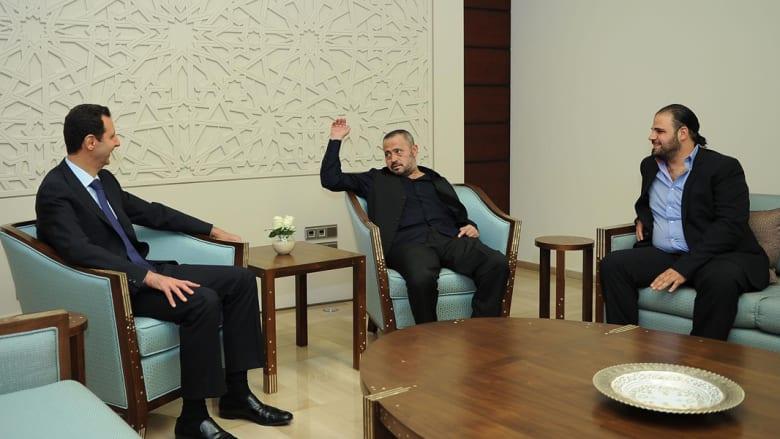 الأسد يستقبل جورج وسوف ونجله