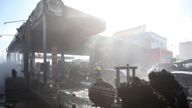 آثار صاروخ اطلق من غزة وأصاب محطة وقود في أشدود