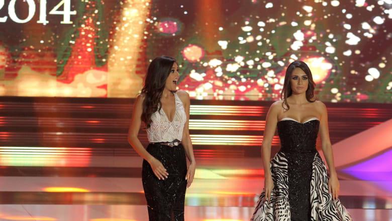 لحظة الإعلان عن الفائرة بلقب ملكة جمال لبنان للعام 2014