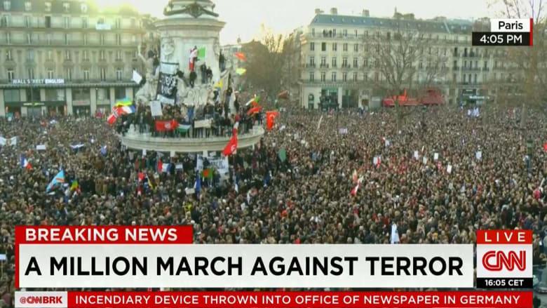 صور حية لمسيرة مليونية فيها 50 زعيم دولة للتضامن مع أحداث باريس... حزن وصمود...ضد الخوف ومع الحرية