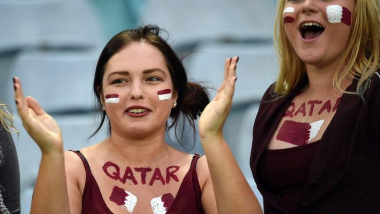 من مباراة قطر والبحرين