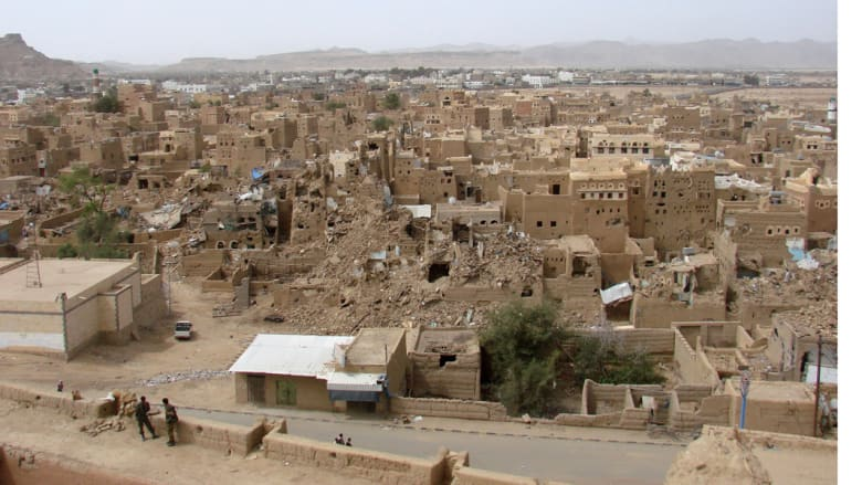 منظر عام بعد الهدنة للدمارالذي لحق بصعدة في المعارك بين الحوثيين والقوات السعودية، حيث حررت القوات السعودية عائلة ألمانية كانت مختطفة، 8 مارس/ آذار 2010