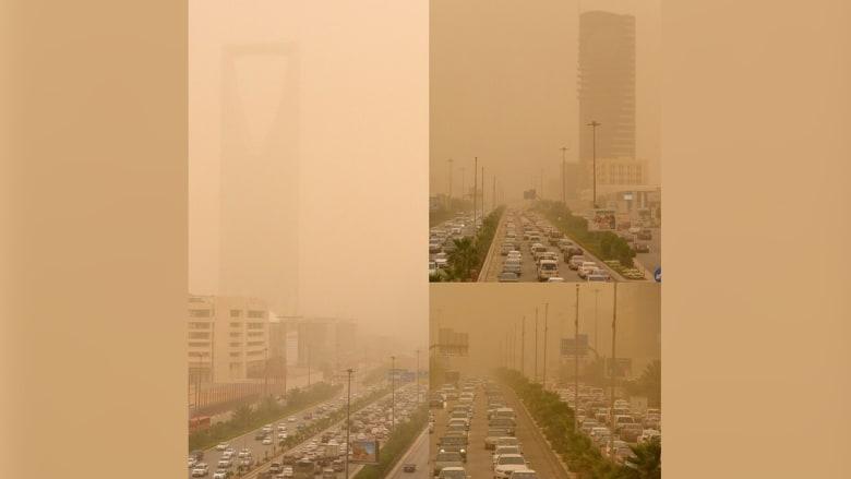 عاصفة رملية تجتالح العاصمة السعودية الرياض