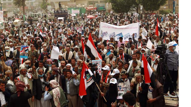 مظاهرة حاشدة لأنصار عبداللمك الحوثي في العاصمة صنعاء ضد عاصفة الحزم التي يشنها تحالف بقيادة السعودية ضد مواقع الحوثيين، 3 مارس/ آذار 2015