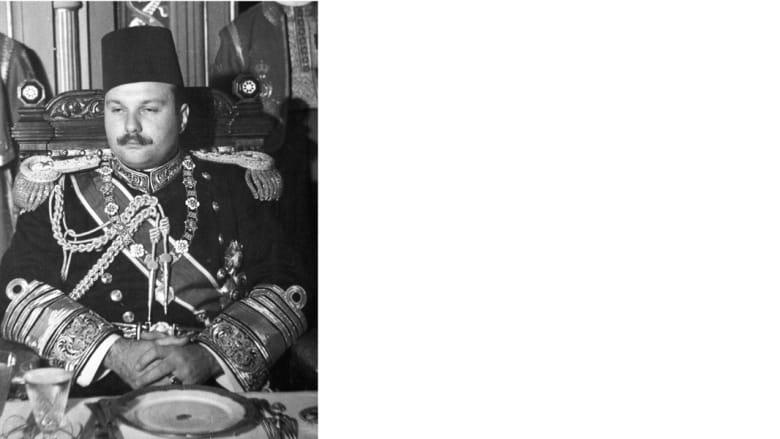 صورة في الخمسينيات للملك فاروق آخر ملوك مصر قبل الثورة والتحول إلى النظام الجمهوري