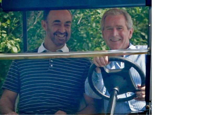 الرئيس الأمريكي جورج بوش مع الشيخ محمد بن زايد ولي عهد أبو ظبي