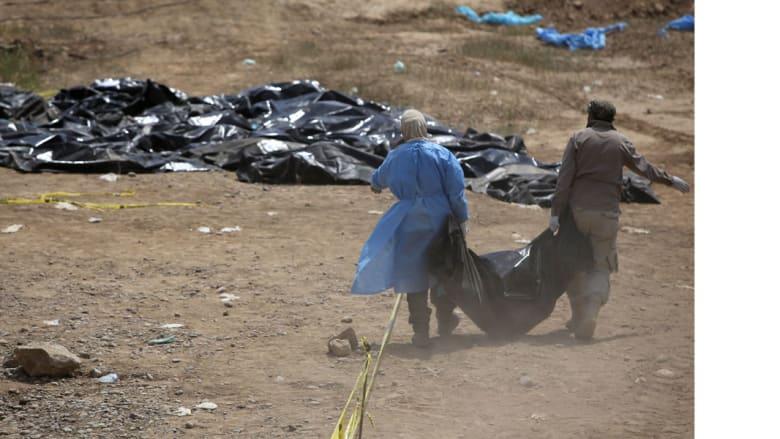 """مصدر عراقي لـCNN: العثور على 499 جثة في قصور تكريت يعتقد أنها لضحايا مجزرة """"داعش"""" في سبايكر"""