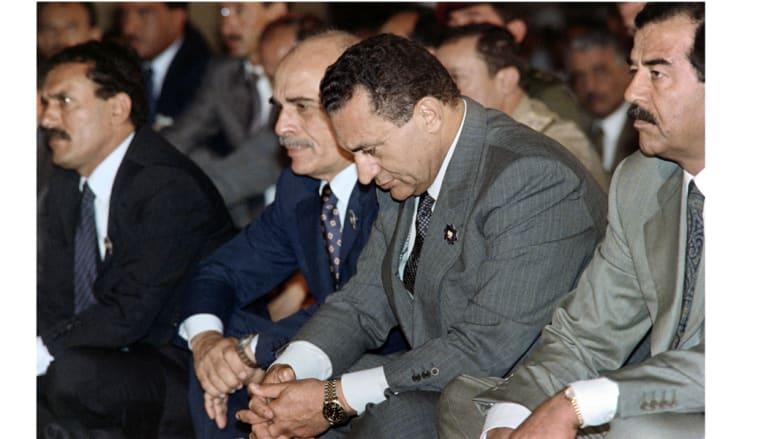 من اليسار، علي عبدالله صالح، الملك حسين، حسني مبارك، صدام حسين.