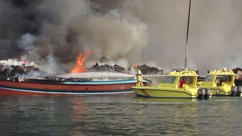 بالصور .. حريق مركبين في ميناء الخور وفرق إطفاء دبي تكافح لمنع انتشاره