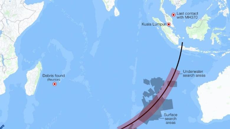 على الخريطة.. 3700 كيلومترا تفصل الحطام المتوقع بأنه لـMH370 عن مواقع البحث