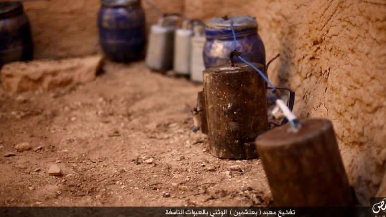 """بالصور.. داعش ينشر لقطات لعمليات تفخيخ وتفجير معبد بعلشمين """"الوثني"""" في تدمر"""