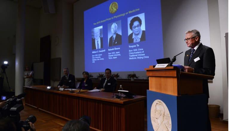 فوز الأيرلندي ويليام سي كامبل والياباني ساتوشي أومورا والصينية يويو تو بجائزة نوبل للطب