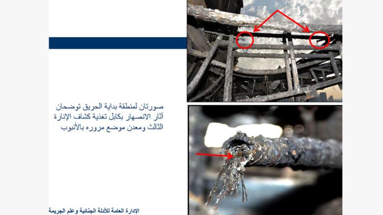 """شرطة دبي تنشر صوراً بنتائج تحقيقاتها لحريق فندق """"العنوان"""".. والسبب أسلاك كهربائية"""