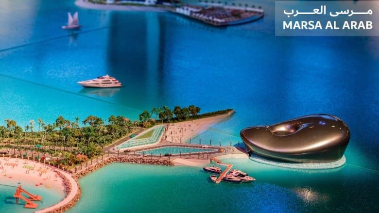 """مجسم المشروع السياحي """"مرسى العرب"""" الذي سستنفذه """" دبي القابضة """" على شاطئ جميرا في دبي وعلى مقربة من برج العرب"""