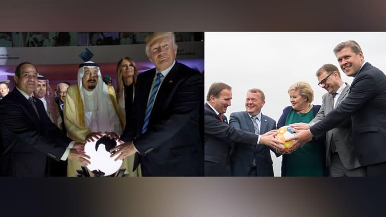 زعماء دول الشمال يحاكون صورة الملك سلمان والسيسي وترامب.. من يحكم العالم؟