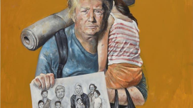 شاهد.. فنان سوري يحول زعماء بالعالم الى لاجئين