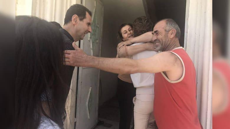 شاهد.. زيارات لبشار الأسد وعائلته في قرى بريف حماة
