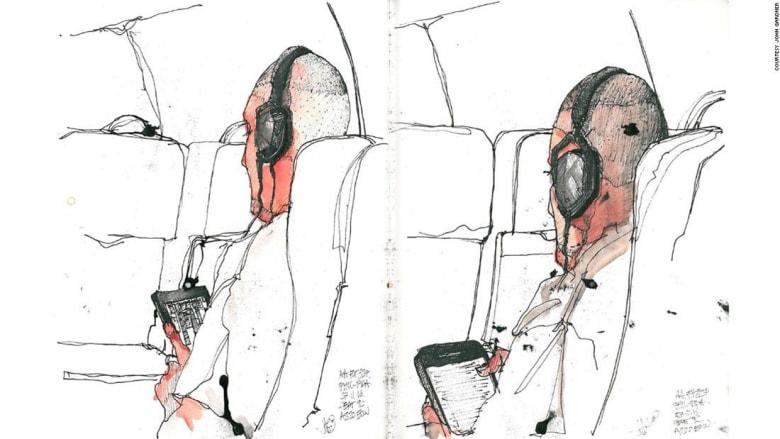 الرسم في الطائرة..مشاهد توثق الحياة على متنها