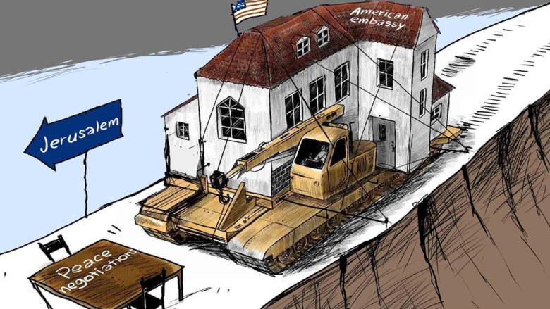 """القدس في الكاريكاتير... """"عملية السلام لفظت أنفاسها الأخيرة"""""""