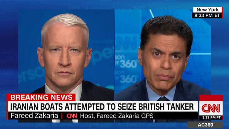 """فريد زكريا يوضح لـCNN الخطر بعد """"محاولة إيرانية فاشلة لاحتجاز ناقلة نفط بريطانية"""""""