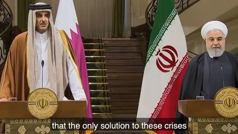 صورة أرشيفية لأمير قطر والرئيس الإيراني بأول زيارة للشيخ تميم إلى إيران