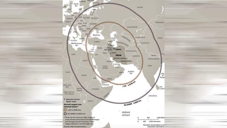 خارطة نشرها بومبيو تظهر مدى الطائرات التي قد تحصل عليها إيران بعد انتهاء حظر الـUN