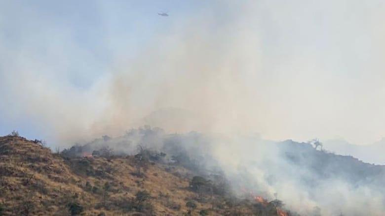 صورة نشرها الدفاع المدني السعودي للحريق في جبل العمد