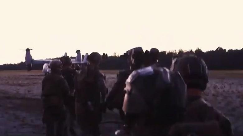 صورة من مقطع الفيديو الذي يظهر تدريبات قوة المارينز