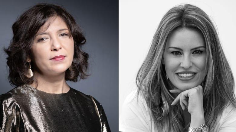 المخرجة السينمائية التونسي كوثر بن هنية (شمال) والمخرجة الفلسطينية البريطانية فرح النابلسي (يمين)
