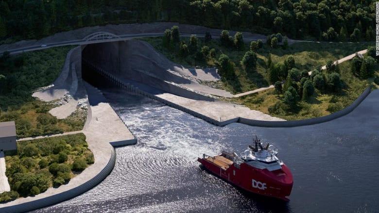 النرويج تبني أول نفق للسفن في العالم تحت الجبال