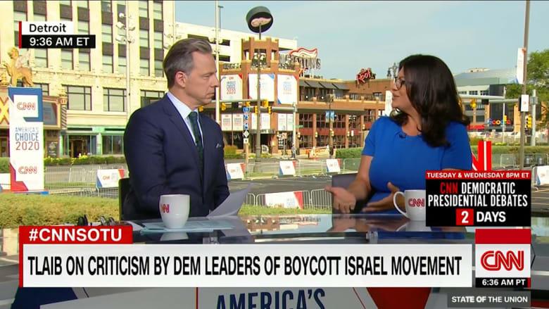 رشيدة طليب مع الزميل جاك تابر في المقابلة على CNN العام 2019