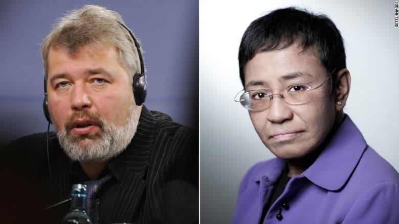 الصحفيان  ماريا ريسا وديمتري موراتوف من الفلبين وروسيا