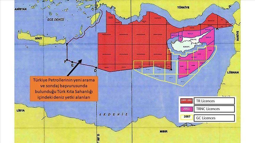 تركيا تنشر خريطة لحقول جديدة تعتزم التنقيب فيها عن الطاقة بشرق البحر المتوسط