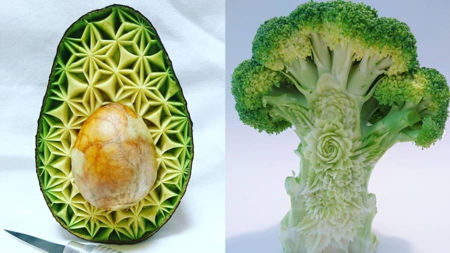 طباخ ياباني ينحت من الطعام قطع فنية