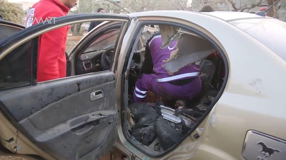 المشاهد الأولى لسيارة القيادي بالقاعدة أبوالخير المصري بعد تفجيرها