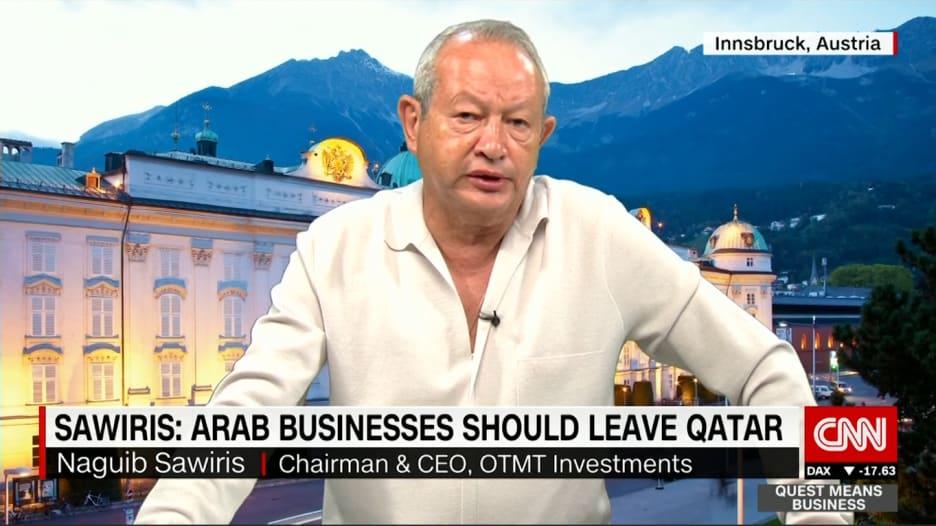 نجيب ساويرس لـCNN: أيدي قطر ملطخة بالدماء وتغيير نظامها ليس خبرا سيئا