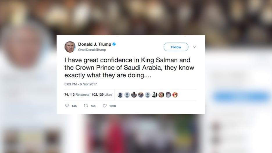 ترامب عن حملة مكافحة الفساد بالسعودية: لدي ثقة بالملك سلمان وولي العهد