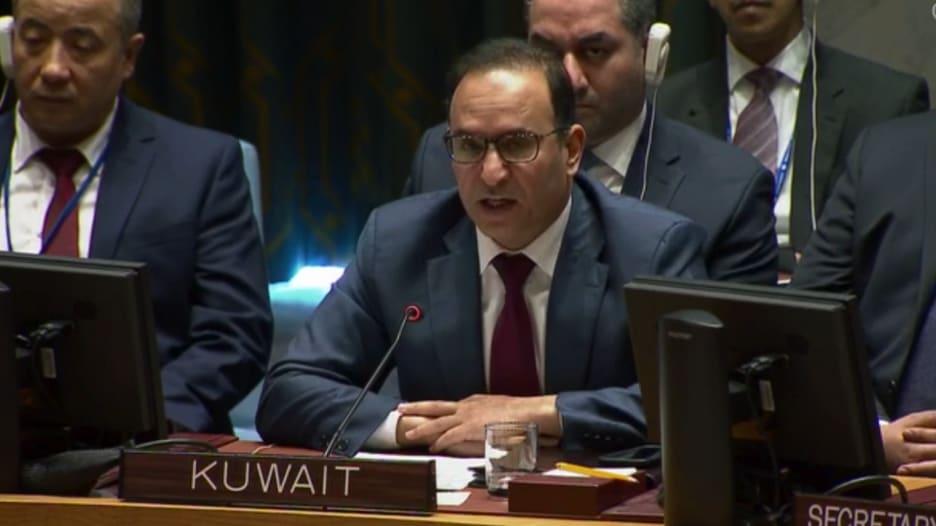 شاهد.. سفير الكويت لدى الأمم المتحدة يدين إطلاق الصواريخ الحوثية