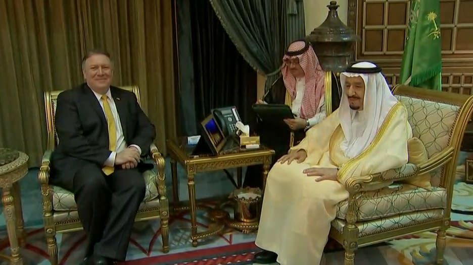 شاهد.. الملك سلمان يلتقي بوزير خارجية أمريكا الجديد