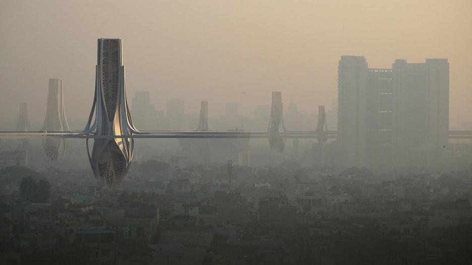 أبراج عملاقة تلوح فوق أفق دلهي في الهند