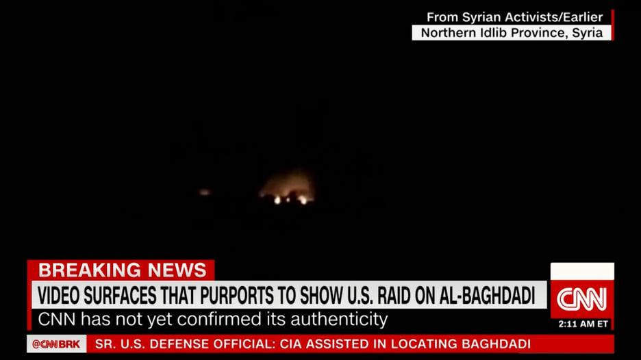 فيديو يُزعم إظهار عملية استهداف أبوبكر البغدادي زعيم داعش