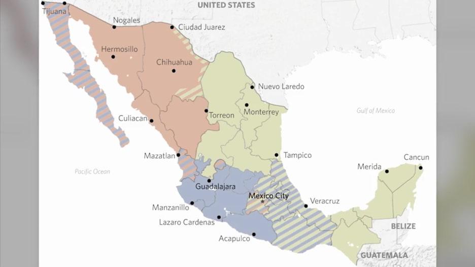 على الخريطة.. مناطق نفوذ وصراع عصابات المخدرات في المكسيك