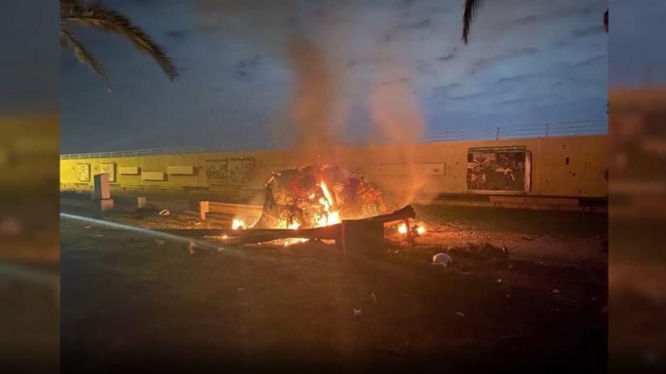 المشاهد الأولى بعد اغتيال قاسم سليماني في العراق