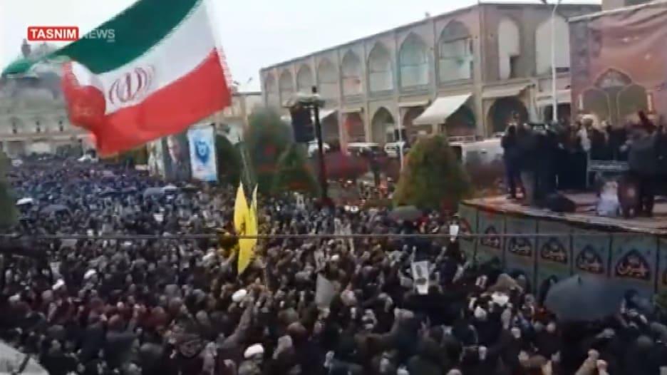 هتافات معادية لأمريكا تنديدا بمقتل سليماني في أصفهان