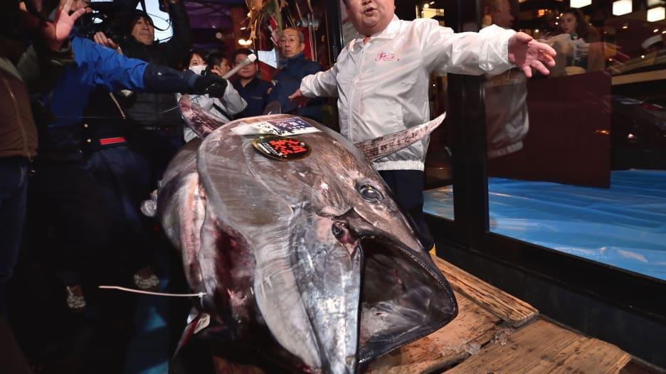 """كيمورا """"ملك التونة"""" يشتري سمكة عملاقة بـ1.8 مليون دولار"""